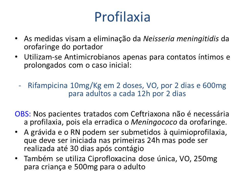 Profilaxia As medidas visam a eliminação da Neisseria meningitidis da orofaringe do portador.