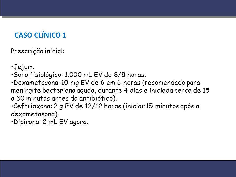 CASO CLÍNICO 1 Prescrição inicial: Jejum.
