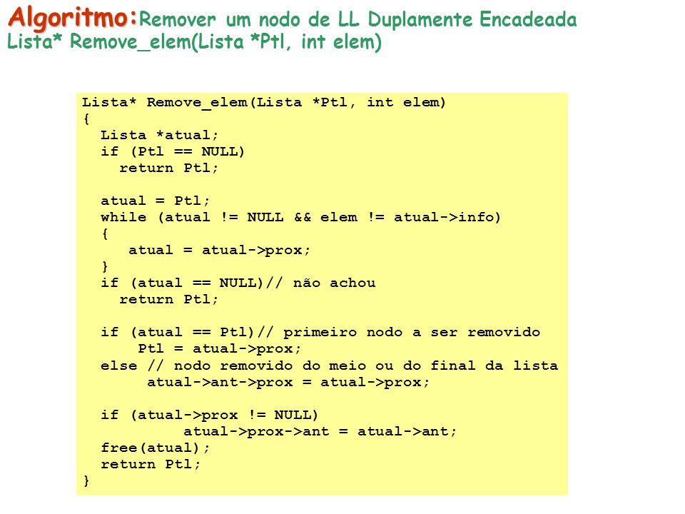 Algoritmo:Remover um nodo de LL Duplamente Encadeada