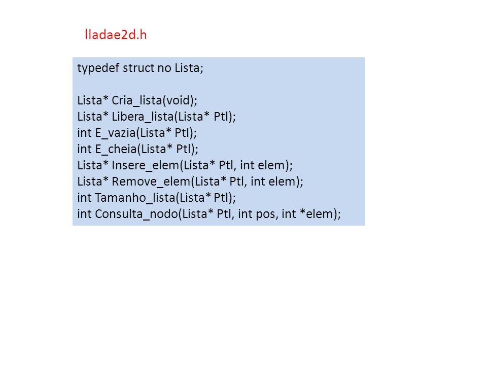 lladae2d.h typedef struct no Lista; Lista* Cria_lista(void);