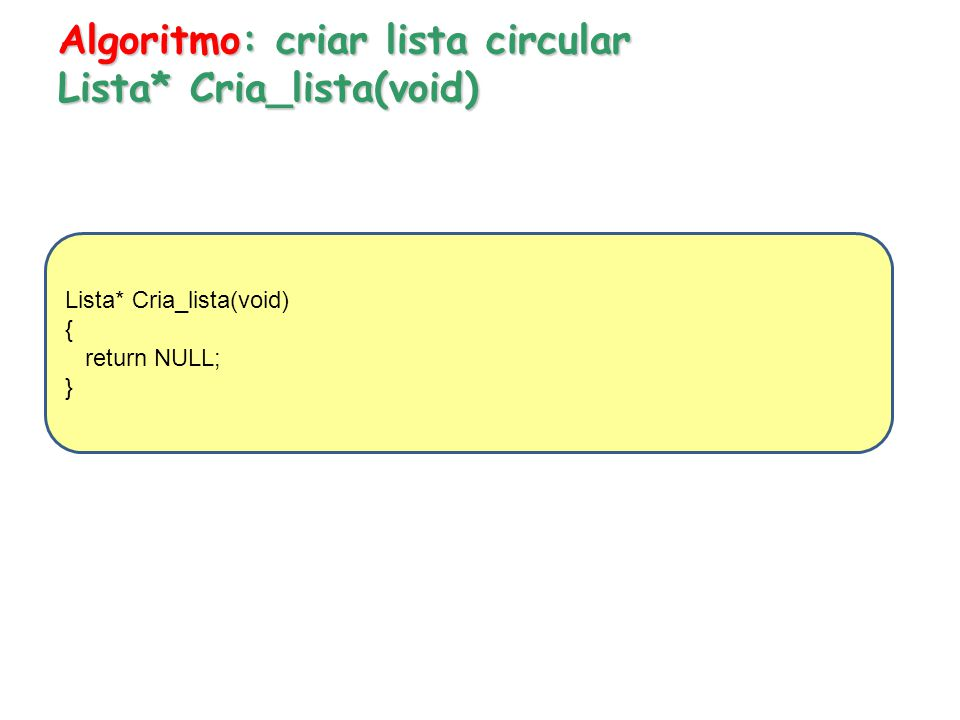 Algoritmo: criar lista circular Lista* Cria_lista(void)