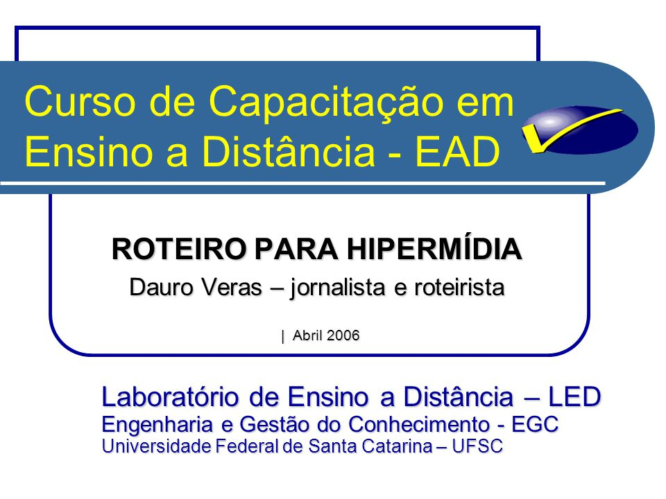 Curso de Capacitação em Ensino a Distância - EAD