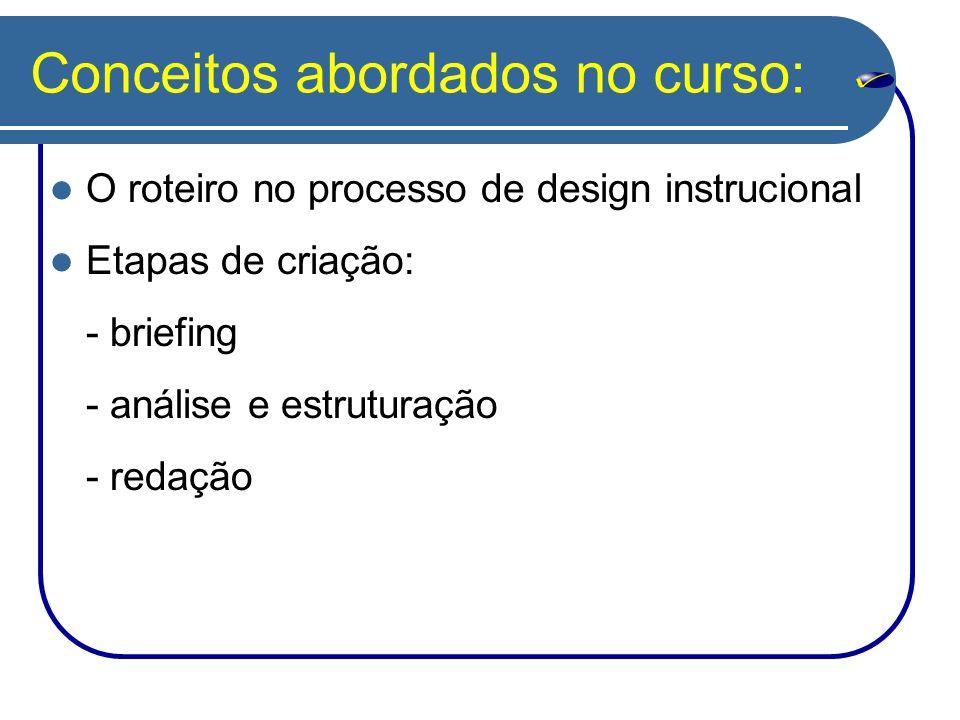 Conceitos abordados no curso: