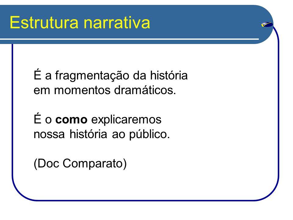 Estrutura narrativa É a fragmentação da história em momentos dramáticos. É o como explicaremos nossa história ao público.