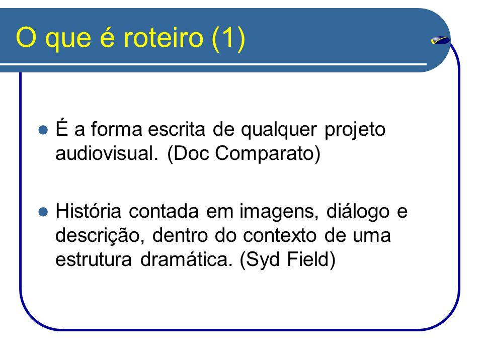 O que é roteiro (1) É a forma escrita de qualquer projeto audiovisual. (Doc Comparato)