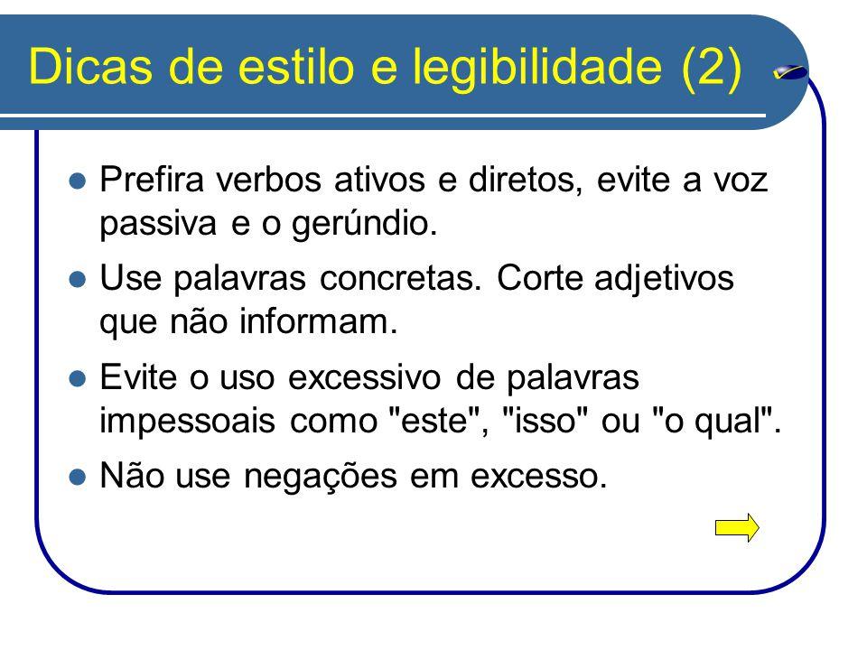 Dicas de estilo e legibilidade (2)