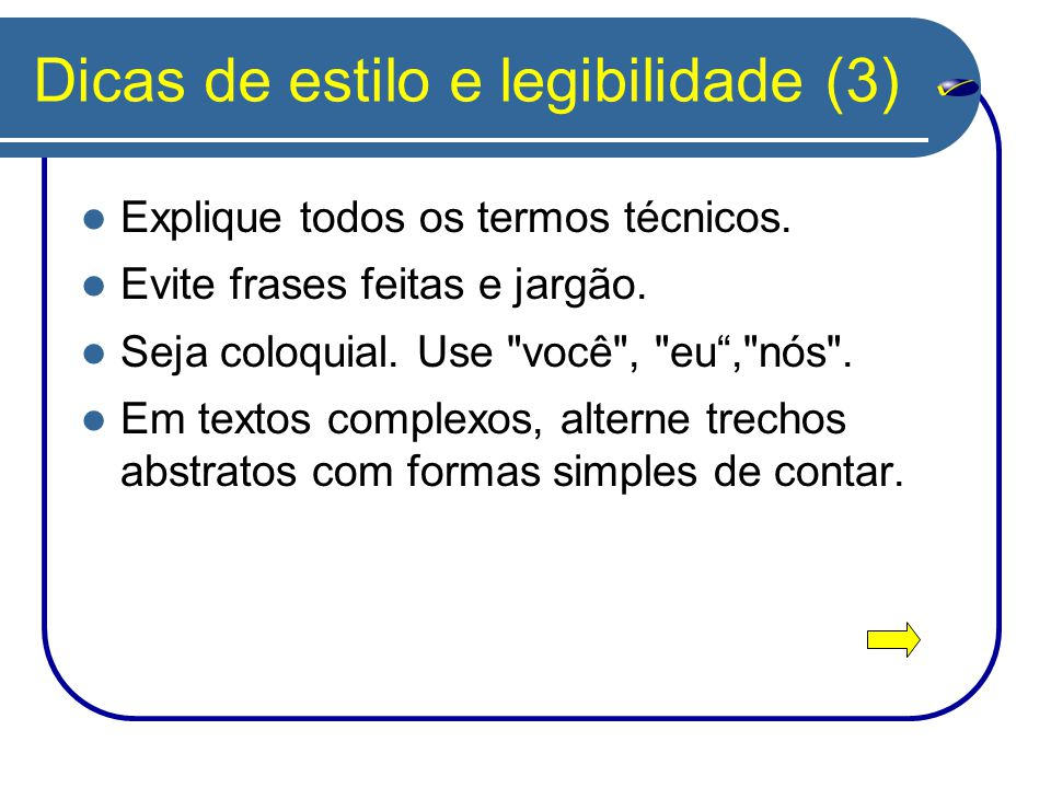 Dicas de estilo e legibilidade (3)