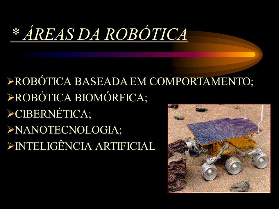 * ÁREAS DA ROBÓTICA ROBÓTICA BIOMÓRFICA; CIBERNÉTICA; NANOTECNOLOGIA;