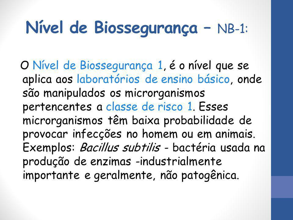 Nível de Biossegurança – NB-1: