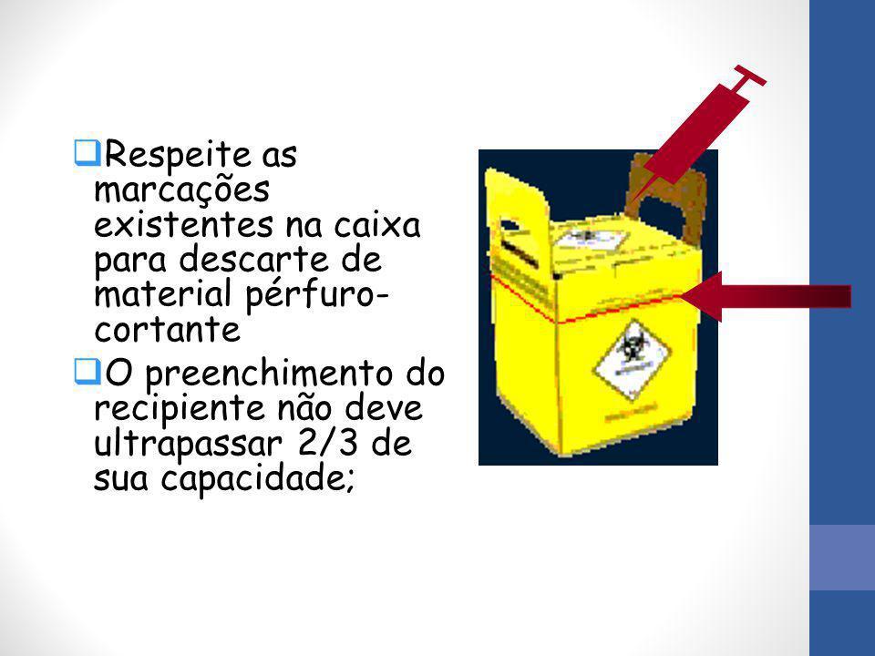 Respeite as marcações existentes na caixa para descarte de material pérfuro-cortante