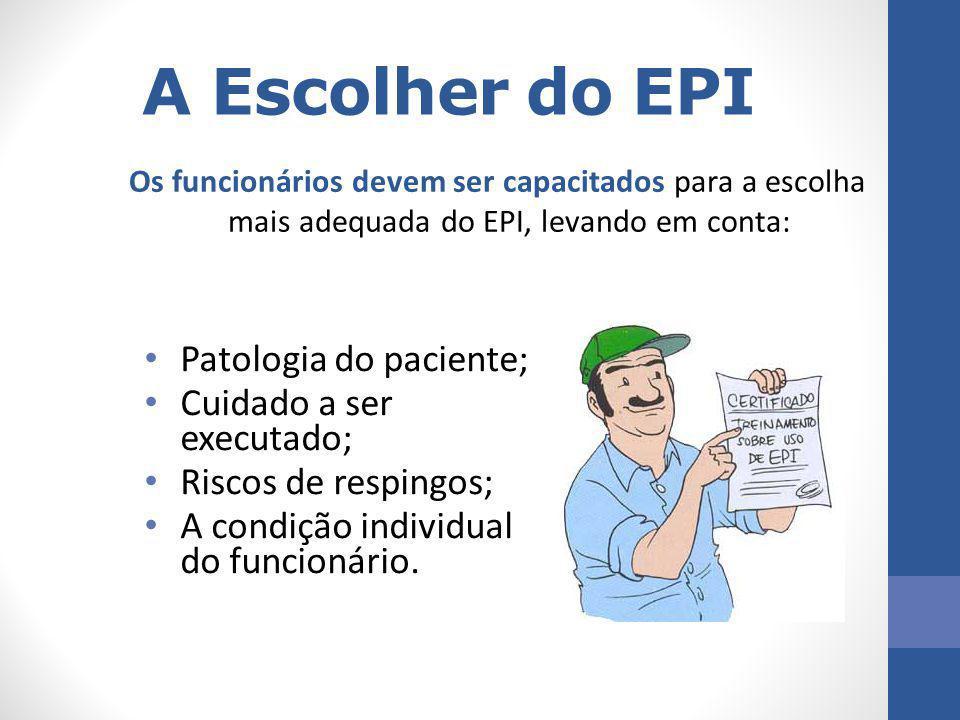 A Escolher do EPI Patologia do paciente; Cuidado a ser executado;