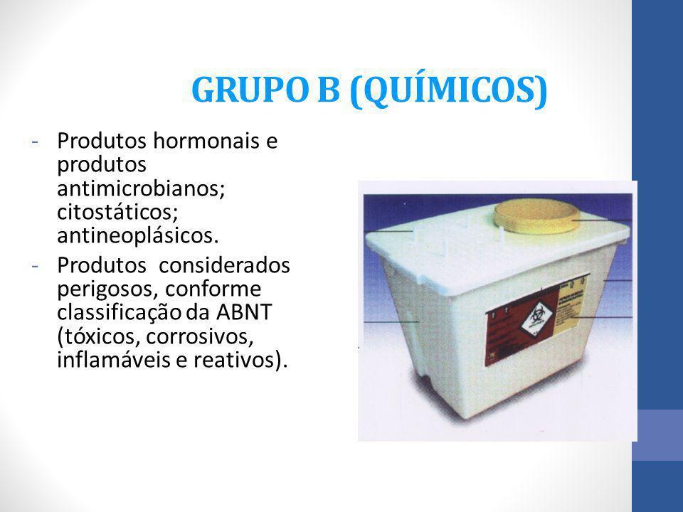 GRUPO B (QUÍMICOS) Produtos hormonais e produtos antimicrobianos; citostáticos; antineoplásicos.