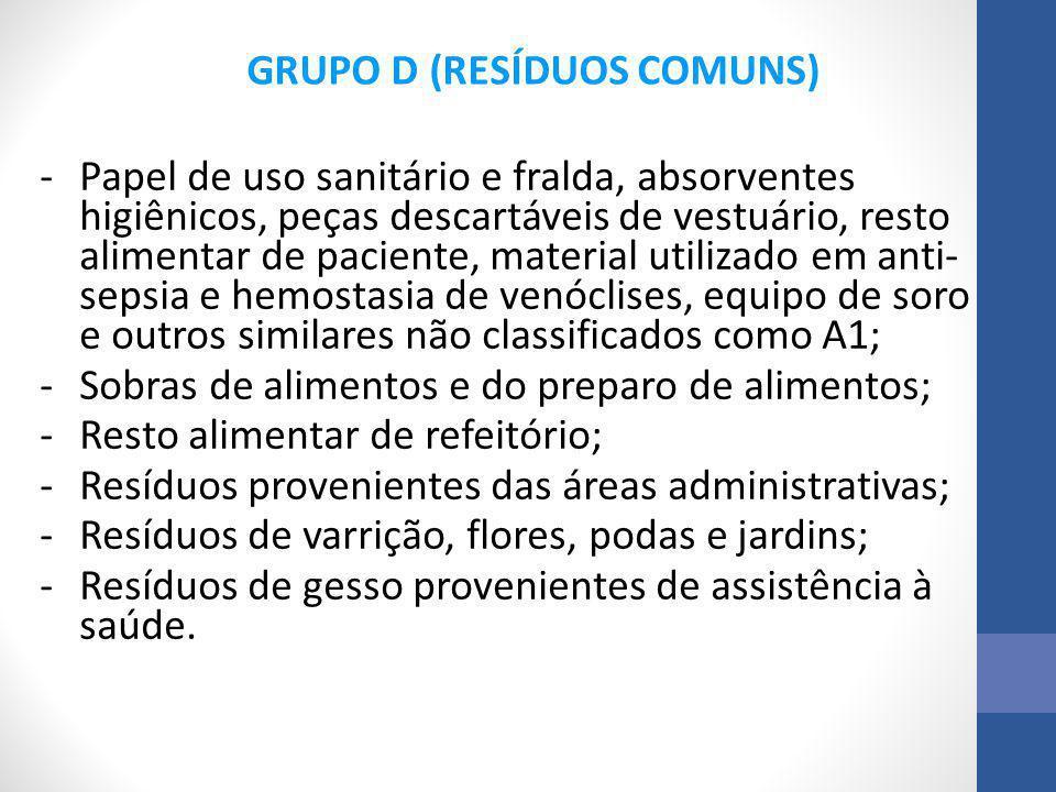 GRUPO D (RESÍDUOS COMUNS)