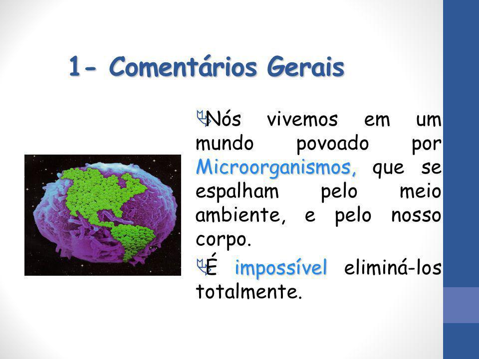 1- Comentários Gerais Nós vivemos em um mundo povoado por Microorganismos, que se espalham pelo meio ambiente, e pelo nosso corpo.