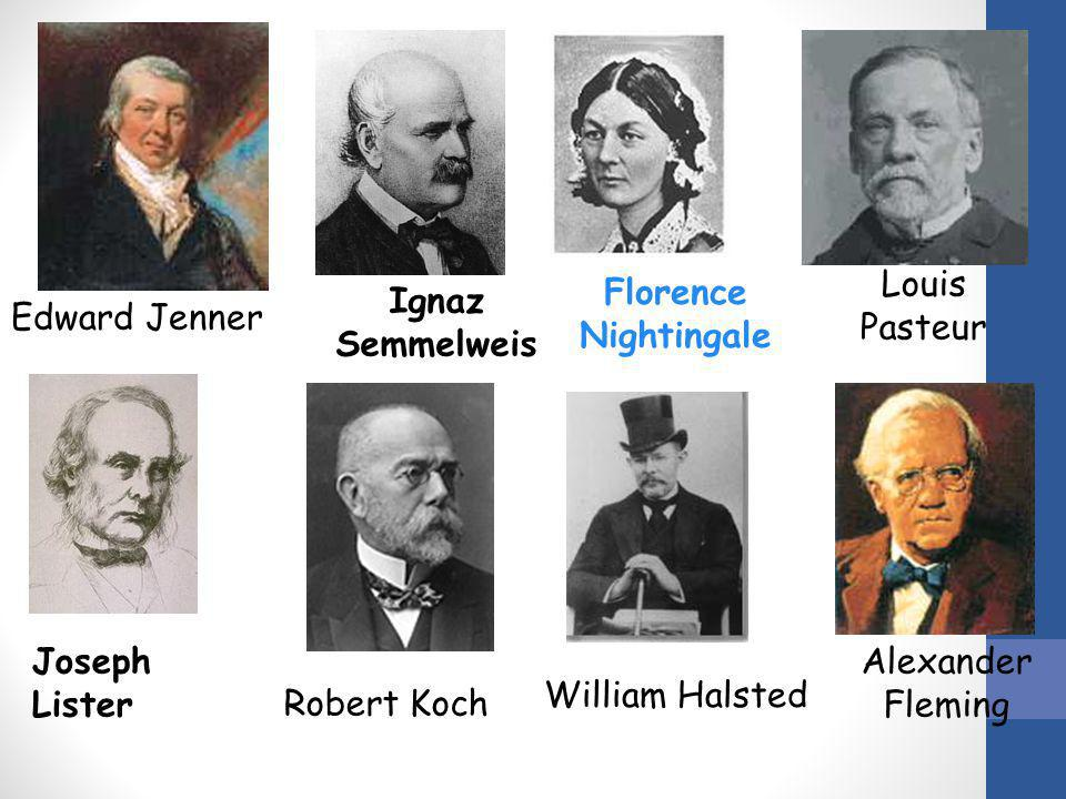 Louis Pasteur Florence Nightingale. Ignaz Semmelweis. Edward Jenner. Joseph Lister. Alexander Fleming.