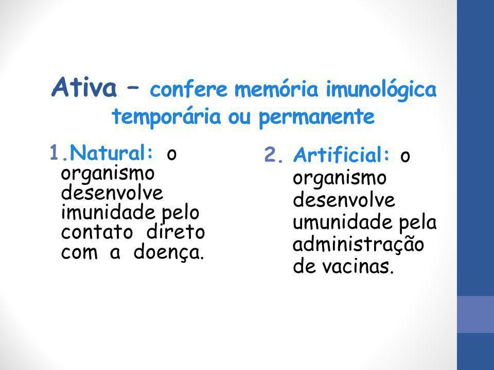 Ativa – confere memória imunológica temporária ou permanente