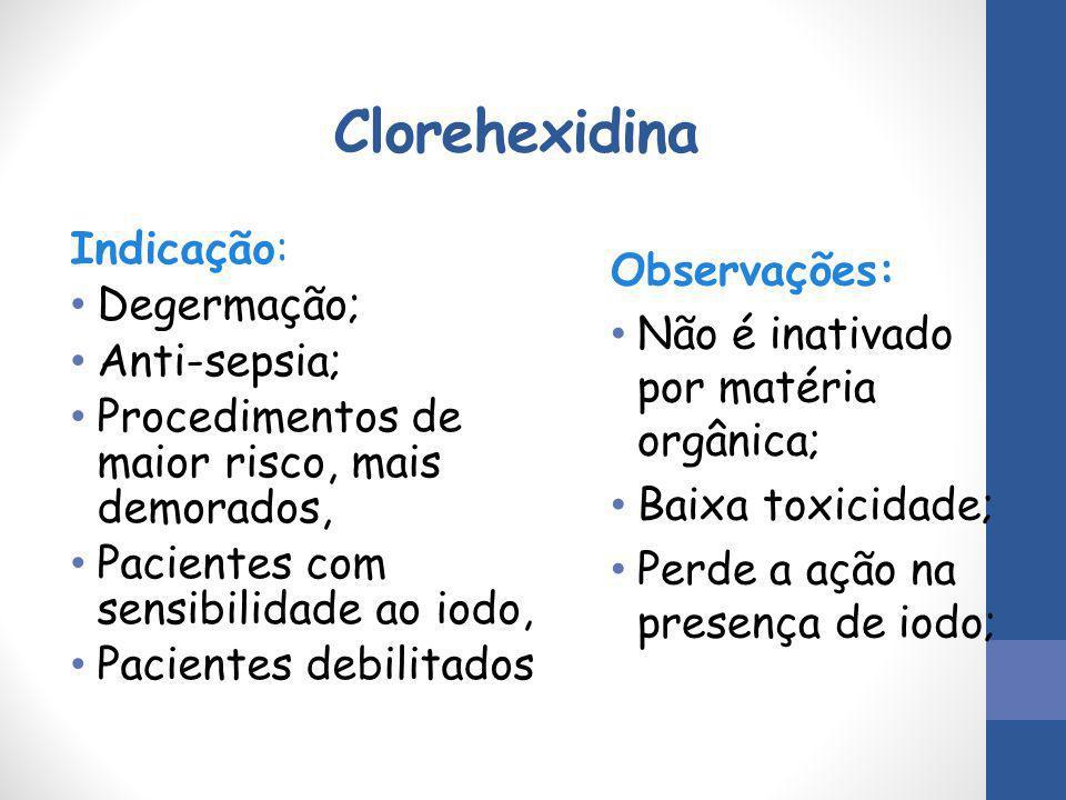 Clorehexidina Indicação: Degermação; Observações:
