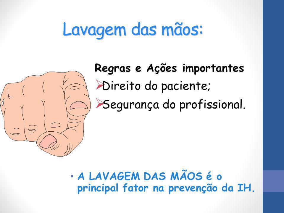 Lavagem das mãos: Direito do paciente; Segurança do profissional.
