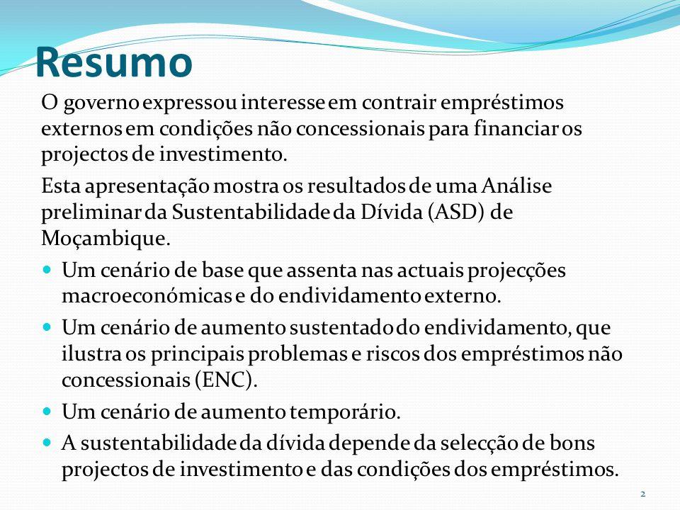 Resumo O governo expressou interesse em contrair empréstimos externos em condições não concessionais para financiar os projectos de investimento.