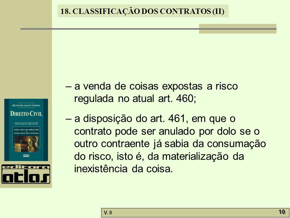 – a venda de coisas expostas a risco regulada no atual art. 460;