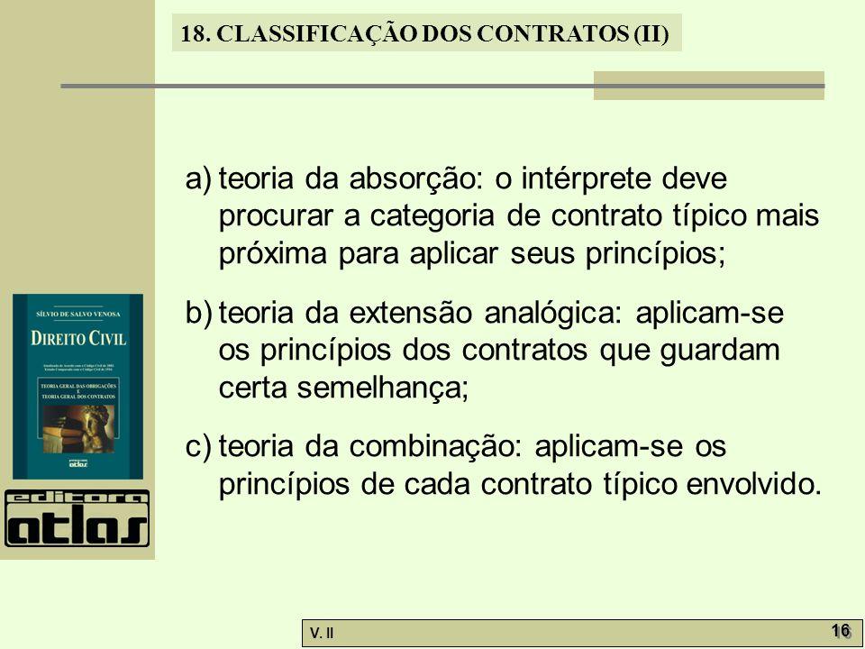 teoria da absorção: o intérprete deve procurar a categoria de contrato típico mais próxima para aplicar seus princípios;