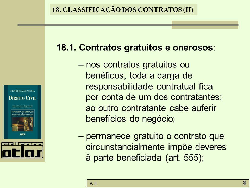 18.1. Contratos gratuitos e onerosos: