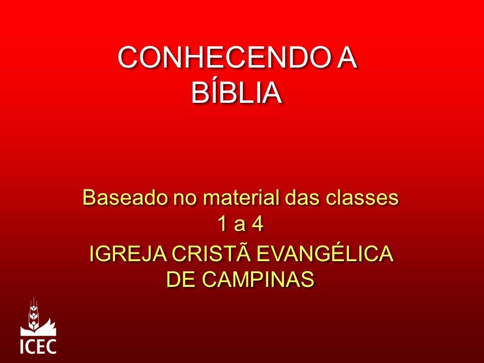 CONHECENDO A BÍBLIA Baseado no material das classes 1 a 4