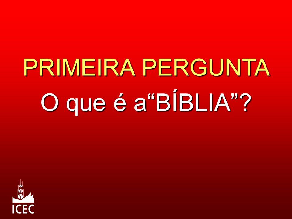 PRIMEIRA PERGUNTA O que é a BÍBLIA