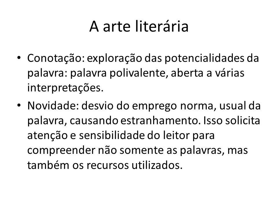 A arte literária Conotação: exploração das potencialidades da palavra: palavra polivalente, aberta a várias interpretações.