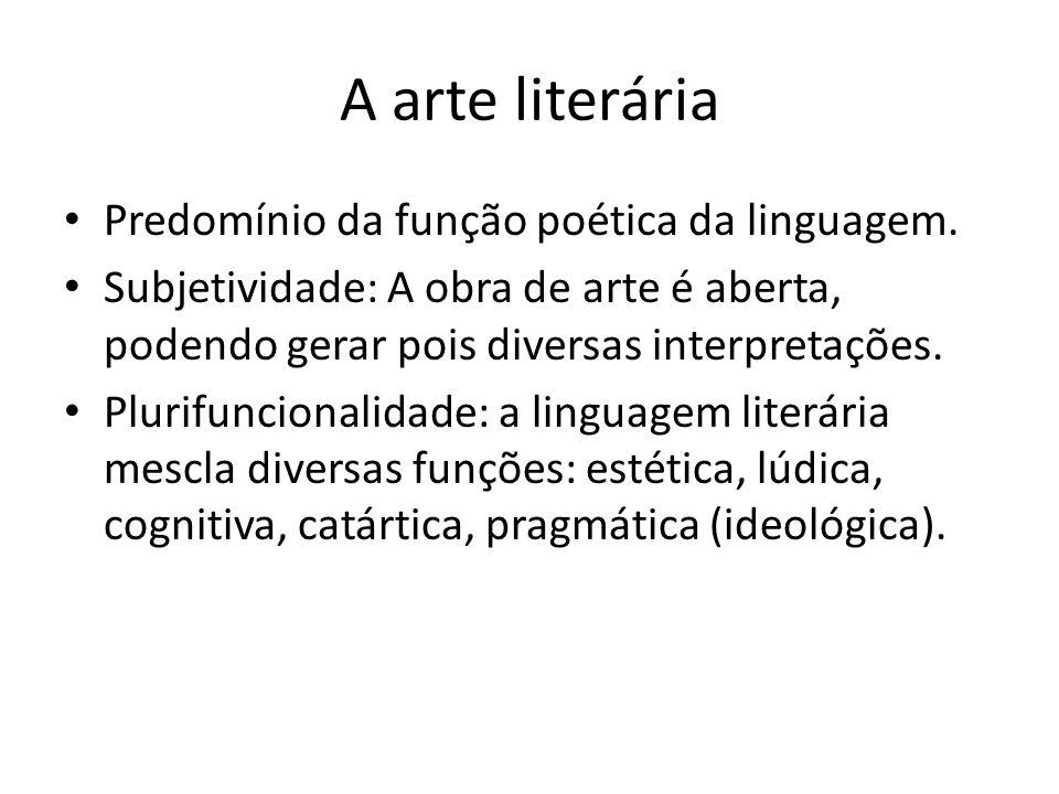 A arte literária Predomínio da função poética da linguagem.