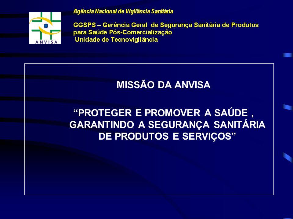 MISSÃO DA ANVISA PROTEGER E PROMOVER A SAÚDE , GARANTINDO A SEGURANÇA SANITÁRIA DE PRODUTOS E SERVIÇOS