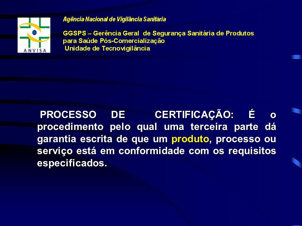 PROCESSO DE CERTIFICAÇÃO: É o procedimento pelo qual uma terceira parte dá garantia escrita de que um produto, processo ou serviço está em conformidade com os requisitos especificados.
