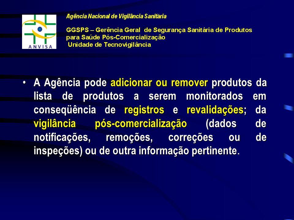 A Agência pode adicionar ou remover produtos da lista de produtos a serem monitorados em conseqüência de registros e revalidações; da vigilância pós-comercialização (dados de notificações, remoções, correções ou de inspeções) ou de outra informação pertinente.