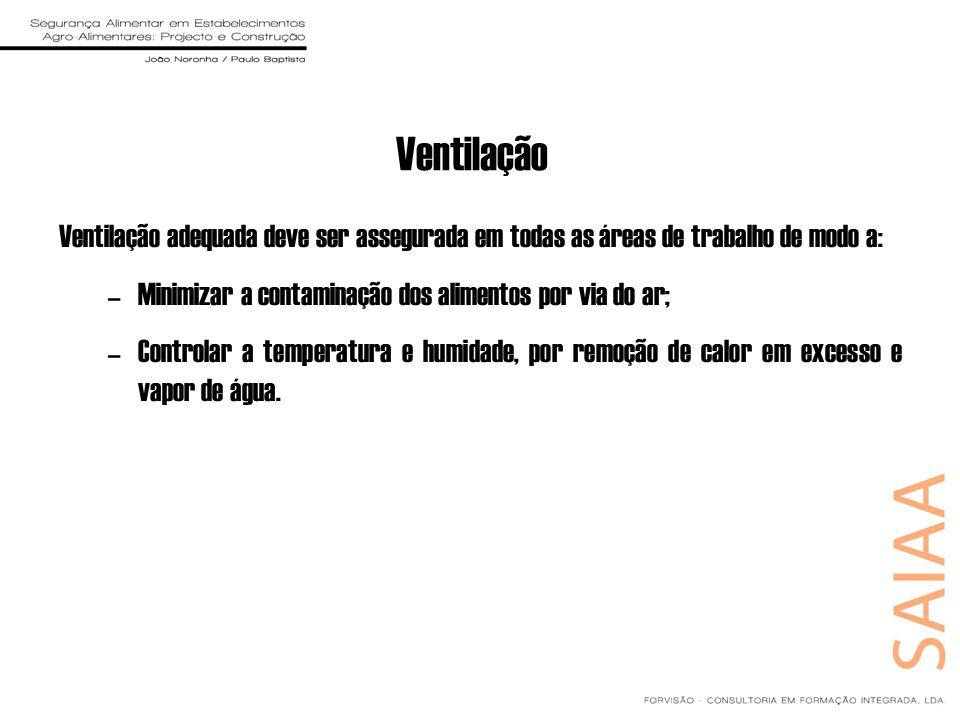 Ventilação Ventilação adequada deve ser assegurada em todas as áreas de trabalho de modo a: Minimizar a contaminação dos alimentos por via do ar;