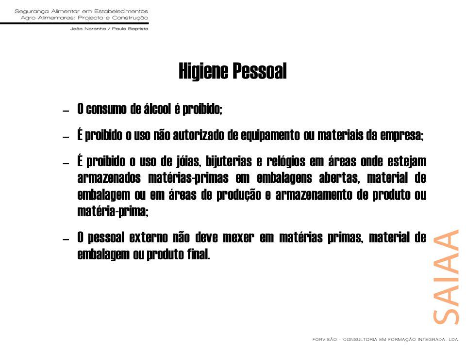Higiene Pessoal O consumo de álcool é proibido;
