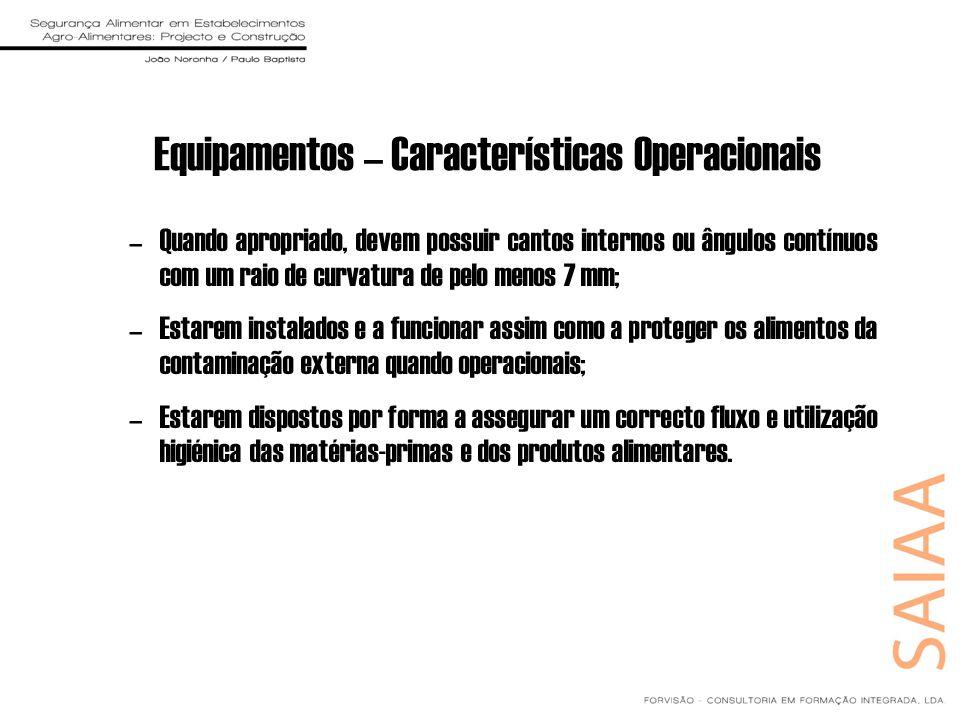 Equipamentos – Características Operacionais
