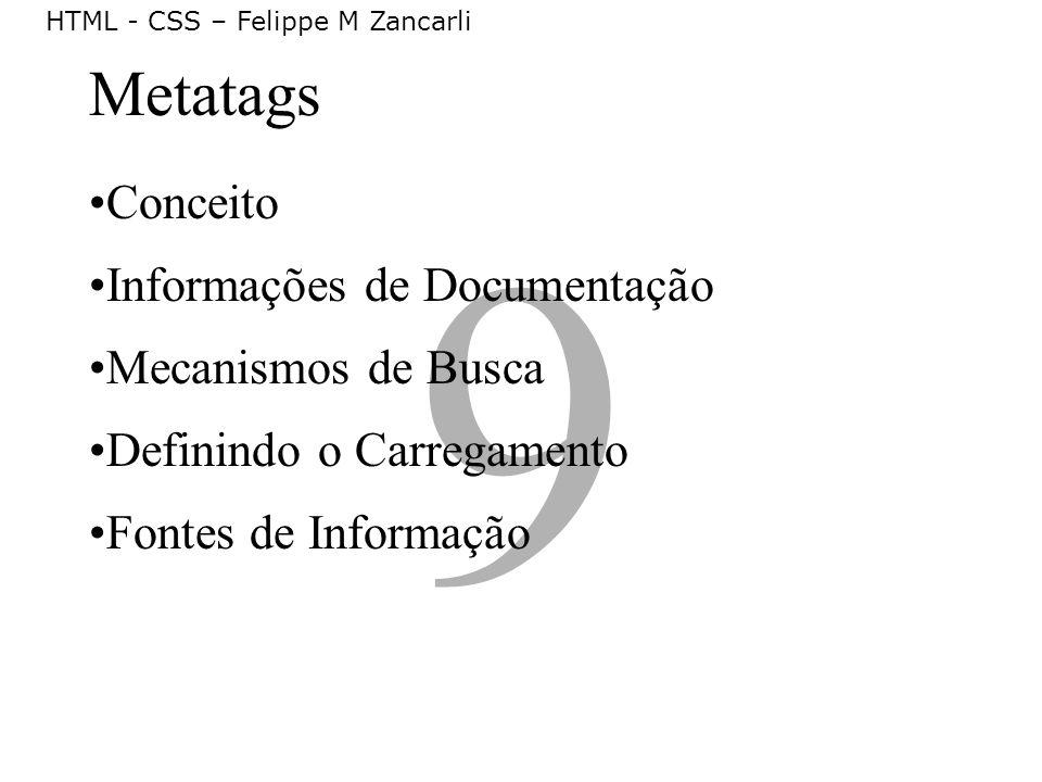 9 Metatags Conceito Informações de Documentação Mecanismos de Busca