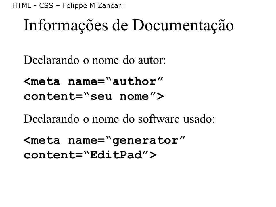 Informações de Documentação