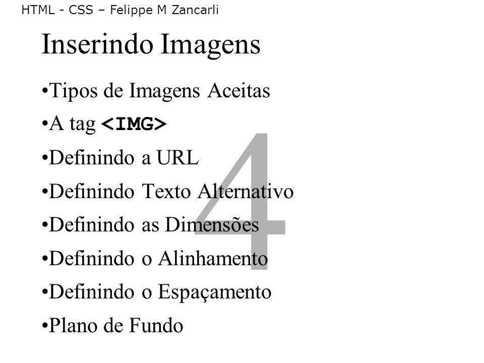4 Inserindo Imagens Tipos de Imagens Aceitas A tag <IMG>