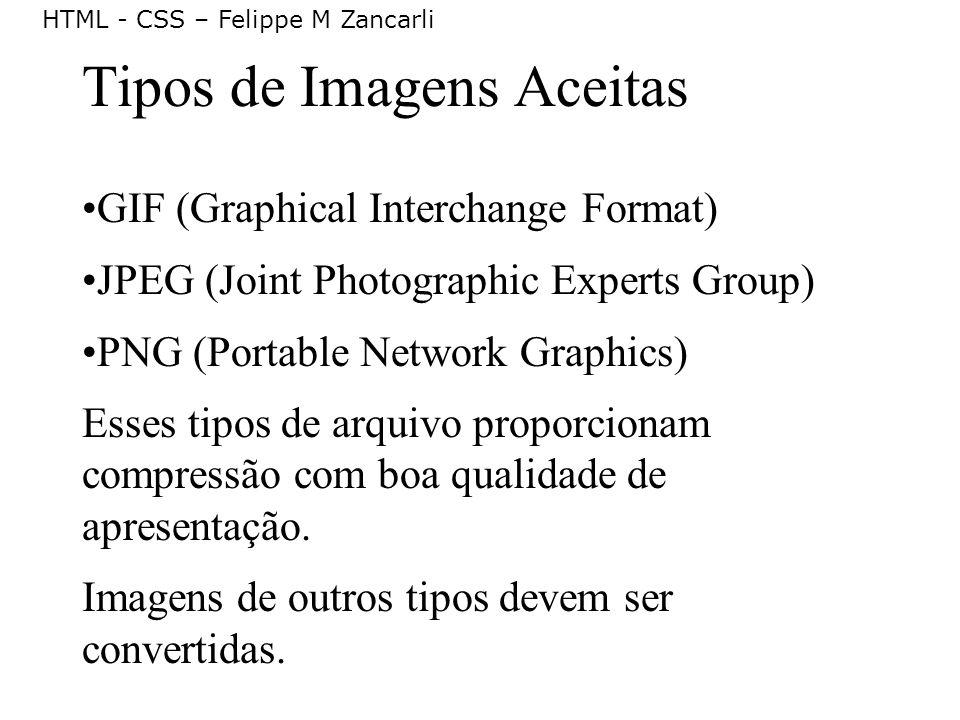 Tipos de Imagens Aceitas
