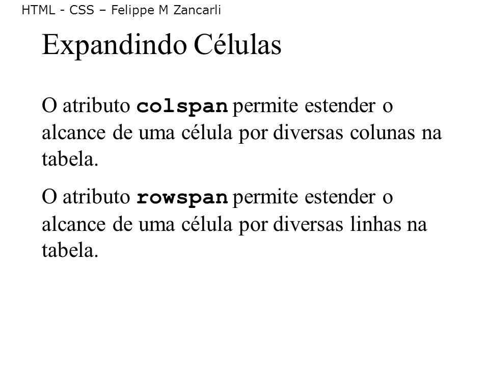 Expandindo Células O atributo colspan permite estender o alcance de uma célula por diversas colunas na tabela.