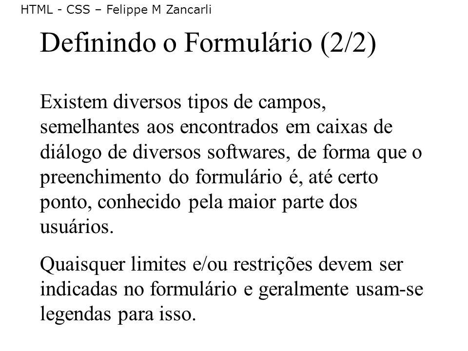 Definindo o Formulário (2/2)