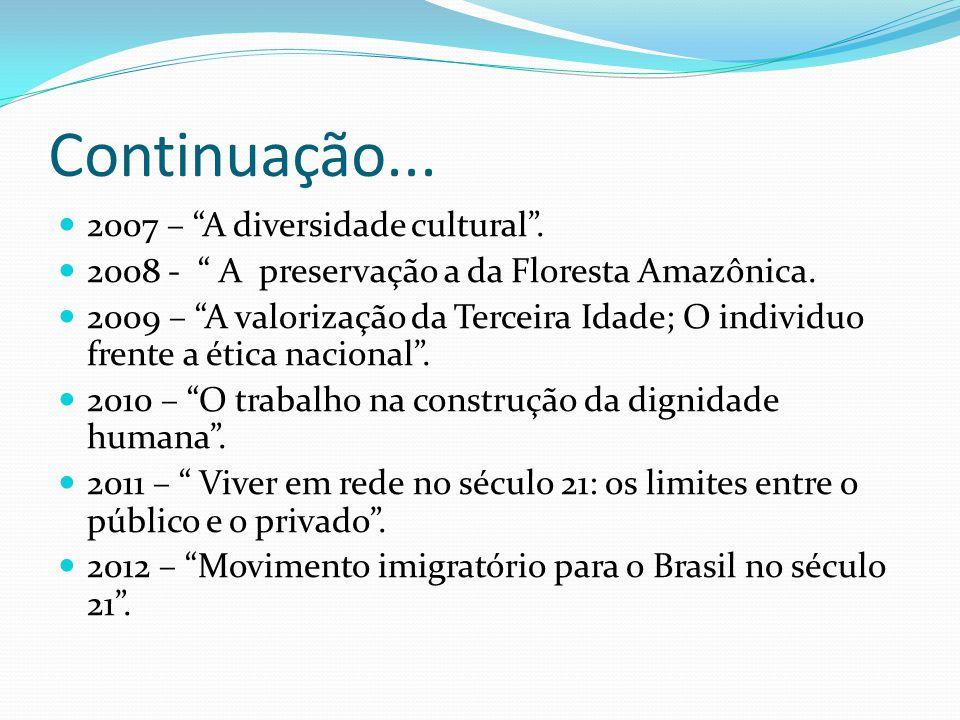 Continuação... 2007 – A diversidade cultural .