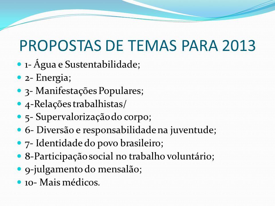 PROPOSTAS DE TEMAS PARA 2013