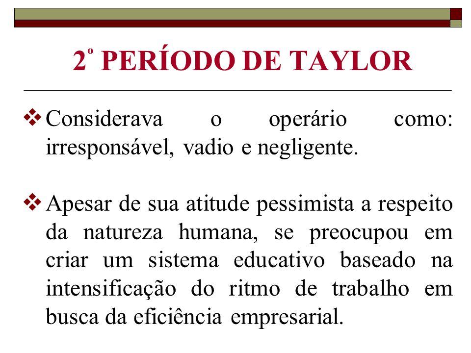2º PERÍODO DE TAYLOR Considerava o operário como: irresponsável, vadio e negligente.