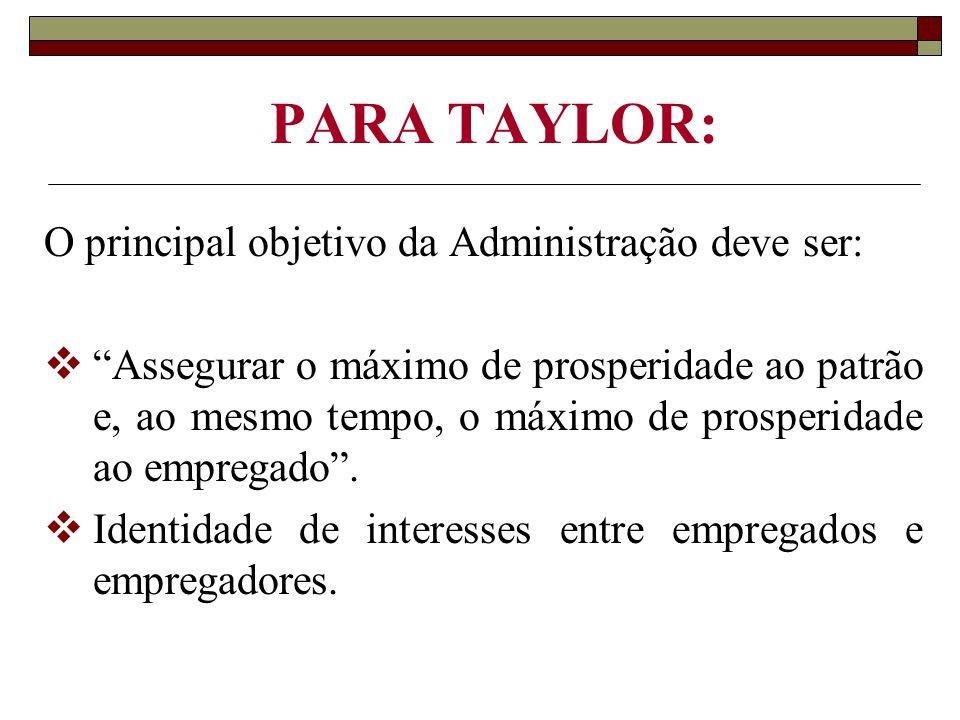 PARA TAYLOR: O principal objetivo da Administração deve ser: