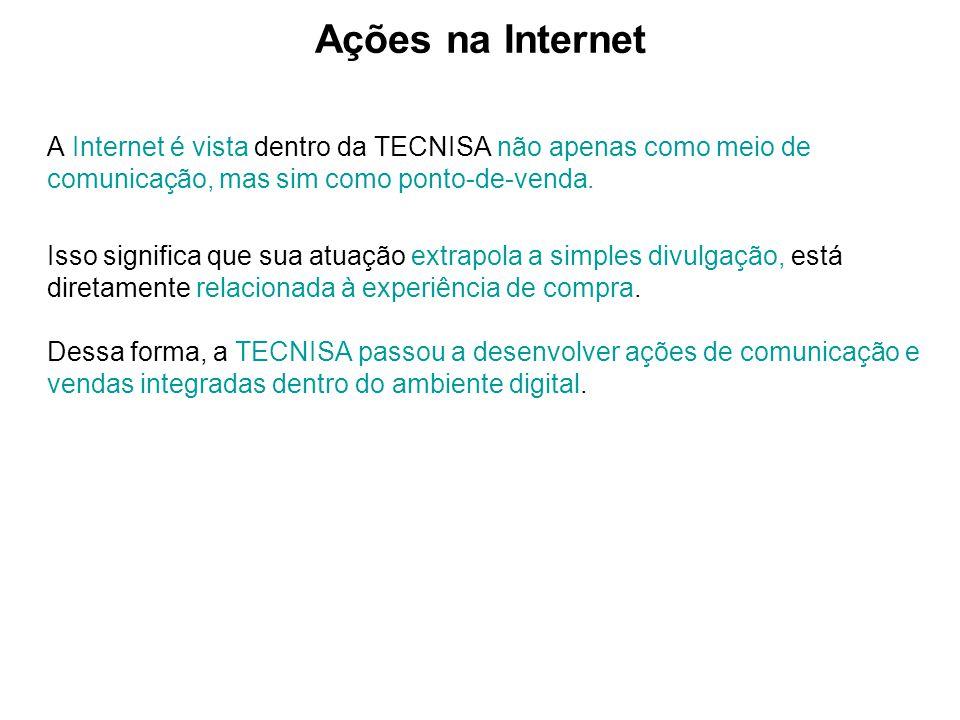 Ações na Internet A Internet é vista dentro da TECNISA não apenas como meio de comunicação, mas sim como ponto-de-venda.