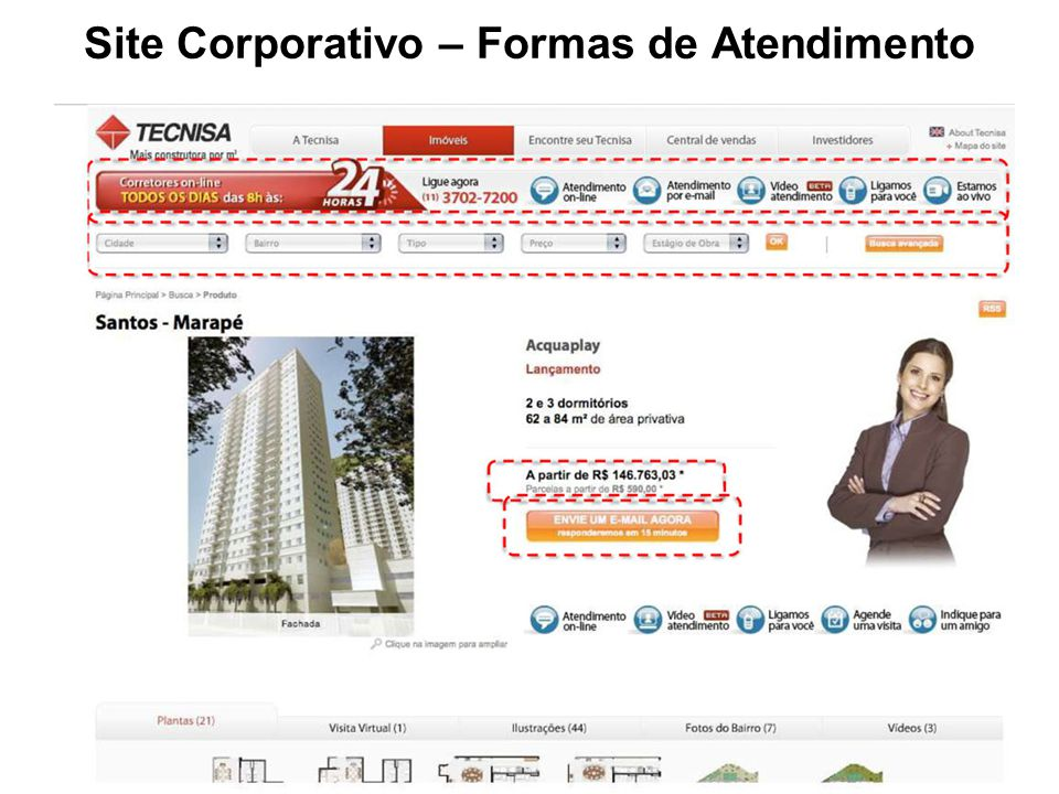 Site Corporativo – Formas de Atendimento