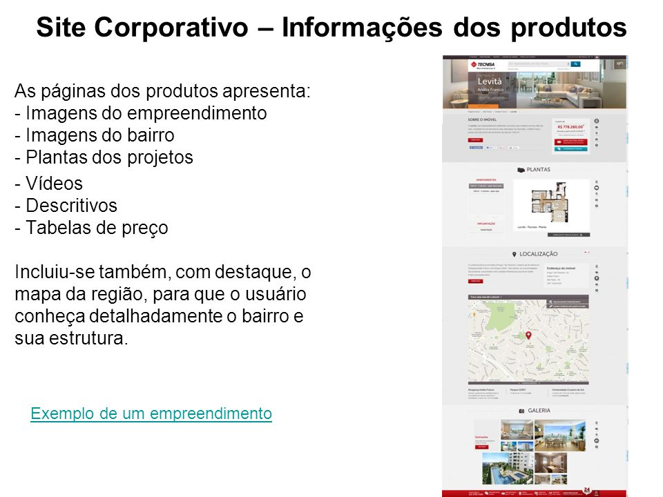 Site Corporativo – Informações dos produtos