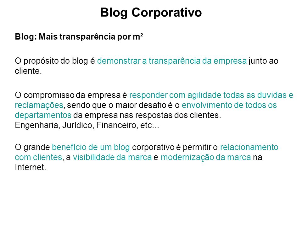Blog Corporativo Blog: Mais transparência por m²